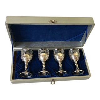 1940s Corbell England Silverplate Cordial Glasses in a Box - Set of 4 For Sale