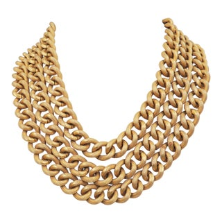 1980s Monet Goldtone Textured 3-Strand Necklace For Sale