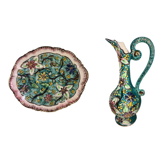 Italian Hand Painted Vintage Floral Majolica Ewer and Platter - Two Piece Set For Sale
