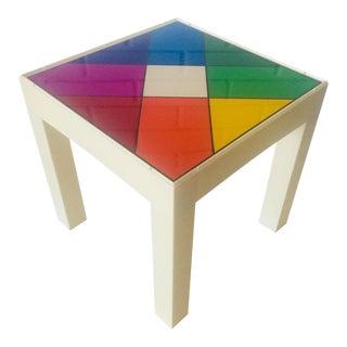 Pop Art Rainbow Kaleidescope Design Parsons Style Side Table For Sale