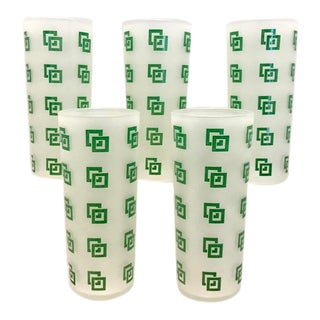 1960s Green Geometric Collins Glasses - Set of 5 For Sale