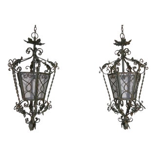 Pair of Spanish Handwrought Iron Lanterns, Circa 1940s For Sale