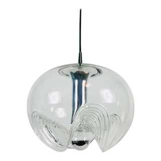 Transparent Glass Pendant Lamp by Koch & Lowy for Peill and Putzler, 1960s For Sale