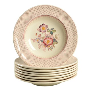 Mason's Paynsley Pink Rim Bowl - Set of 8 For Sale