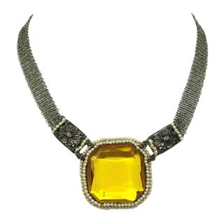 1910 Faceted Topaz Glass Necklace With Seed Pearls For Sale