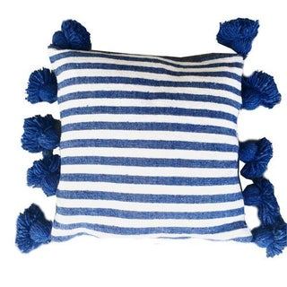Blue & White Pom-Pom Pillow Cover