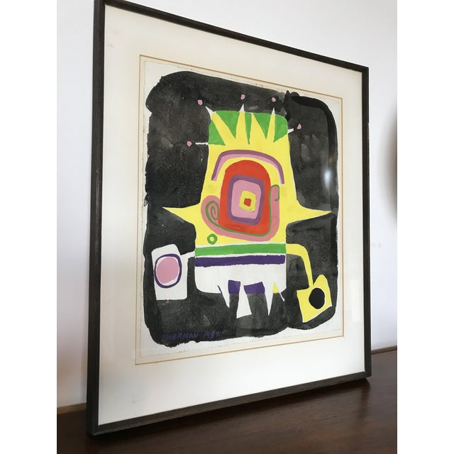 Paint Norman Hoberman Abstract Painting Mixed Media 1959 For Sale - Image 7 of 11