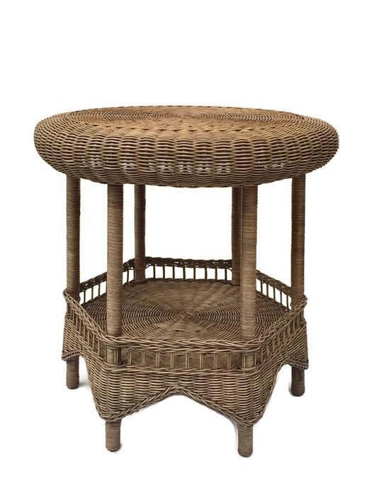 Fabulous Vintage Wicker End Table, Wicker Tabouret Style Table, Moorish /  Moroccan Arch Style