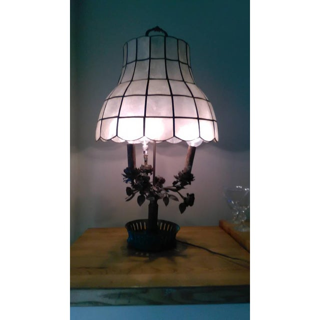 Antique Steel & Brass Roses Lamp - Image 6 of 9