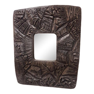 Mid Century Brutalist Resin Mirror For Sale