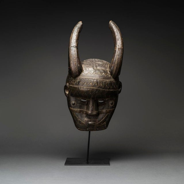 African Malinke Wooden Horned Mask For Sale - Image 3 of 3