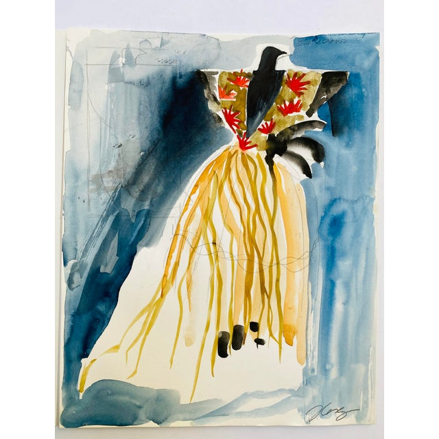"Watercolor Costume & Set Drawing #1, Original Artwork, for Fifth Avenue Windows, NYC 11"" x 14"" Image Size watercolor on..."