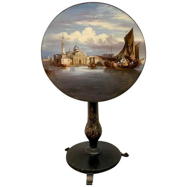 19th Century English Papier-Mâché Tilt-Top Table View of St Marks Square For Sale - Image 11 of 11