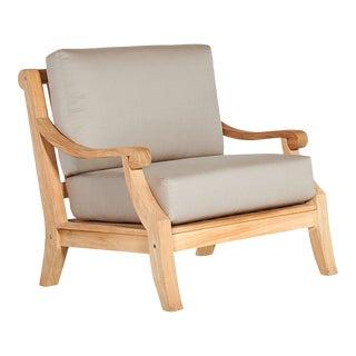 Sonoma Teak Deep Seating Outdoor Club Chair with Sunbrella Antique Beige Cushion For Sale