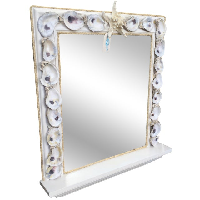 Oyster Shell Wood Framed Mirror with Shelf - Image 1 of 5
