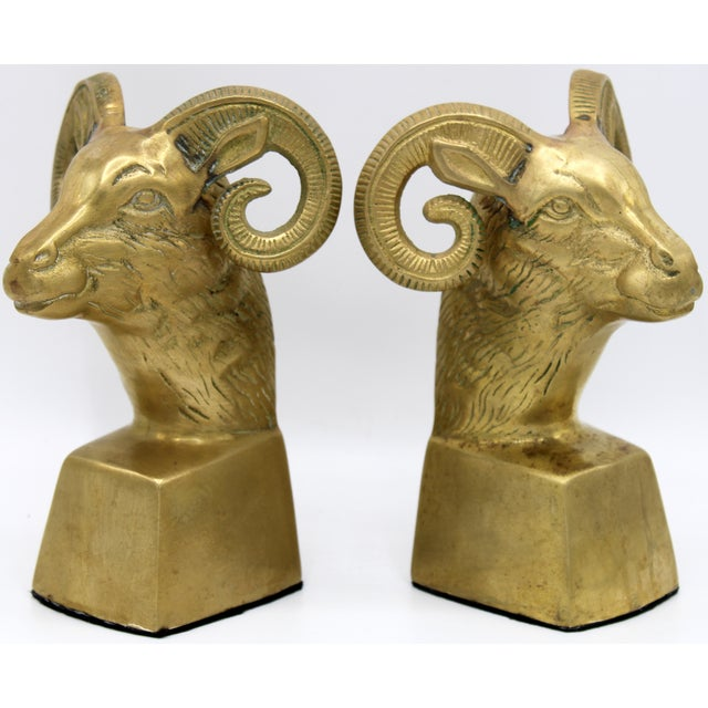 Hollywood Regency Brass Ram Head Bookends - a Pair For Sale - Image 9 of 9