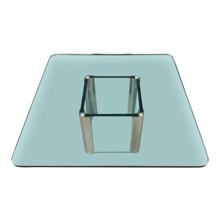 Pace Collection Chrome and Glass Square Coffee Table For Sale