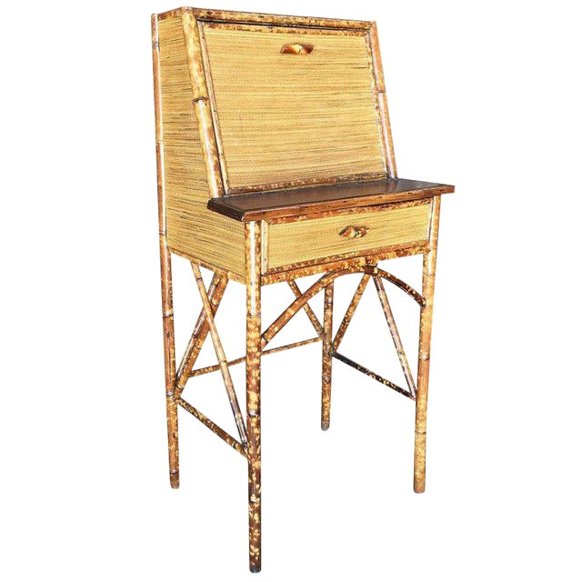 Tiger Bamboo Secretary Desk with Ricemat Covering - Image 1 of 9