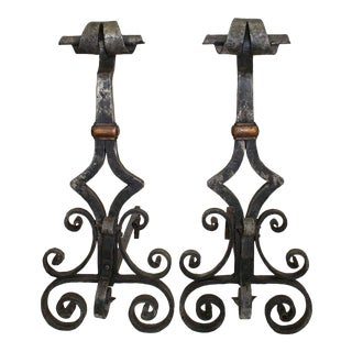 Early 20th Century Hand Wrought Andirons - a Pair For Sale