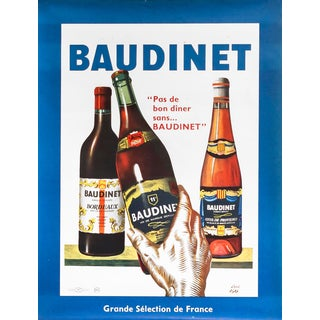 1940s French Vintage Bordeaux Wine Poster, Baudinet For Sale