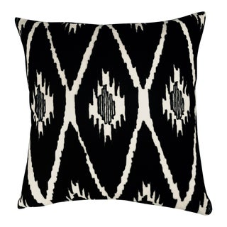 Modern Global Embroidered Ikat Pillow For Sale