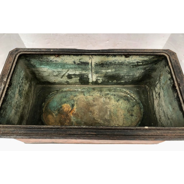 Copper 1930s Vintage French Rectangular Copper Planter For Sale - Image 8 of 9
