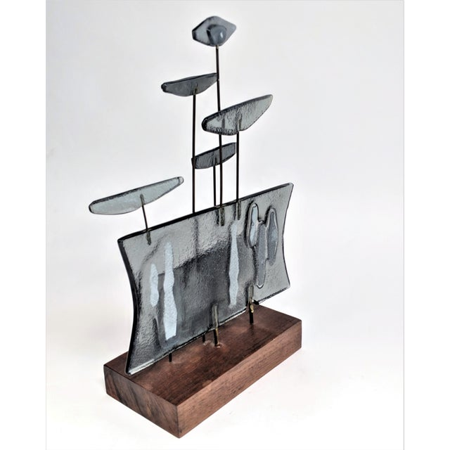 Mid-Century Modern Higgins Style Studio Art Glass Sculpture on Wood Base For Sale - Image 3 of 11