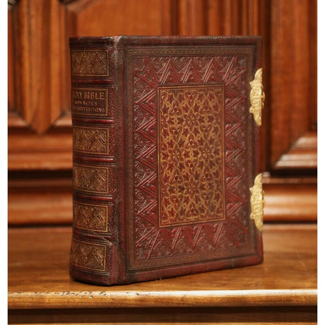 19th Century English Leatherbound and Brass Locks Holy Bible With Illustrations For Sale - Image 4 of 8