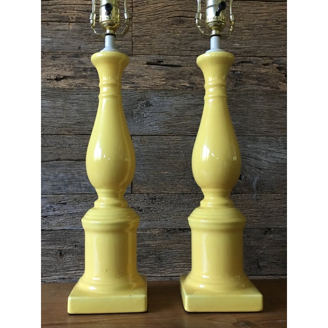 Vintage Yellow Table Lamps - A Pair For Sale - Image 5 of 11