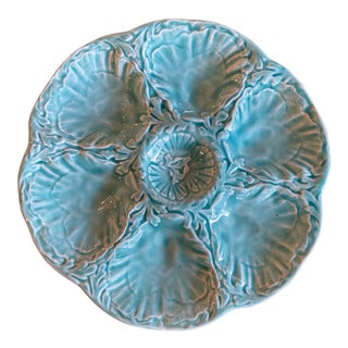 1960s French Turquoise Oyster Plate For Sale