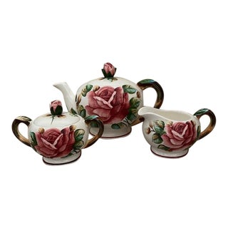 Lefton 'Americana Rose' Teapot, Sugar, and Creamer - 3 Piece Set For Sale