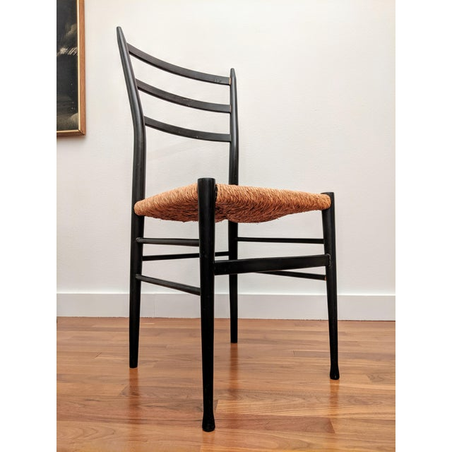 Gio Ponti-Style Superleggera-Style Woven Rope Chair For Sale In Dallas - Image 6 of 10