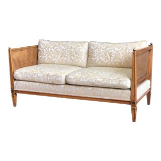 Regency Style Caned Settee With Brass Ball Finials For Sale