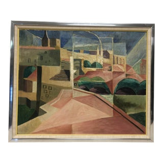 Mid Century Modern Abstract Landscape Oil Painting For Sale