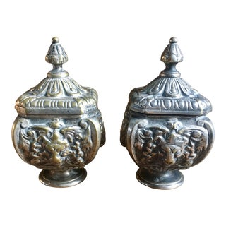 19th Century Silver-Plate on Bronze Lion Inkwells - a Pair For Sale