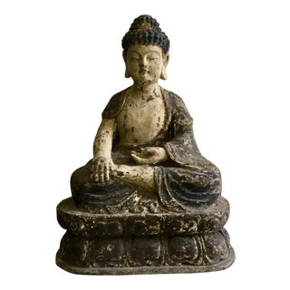 Antique Wooden Carved Buddha Figurine For Sale