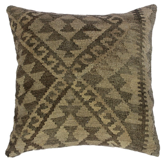 "Darius Gray/Tan Hand-Woven Kilim Throw Pillow(18""x18"") For Sale"