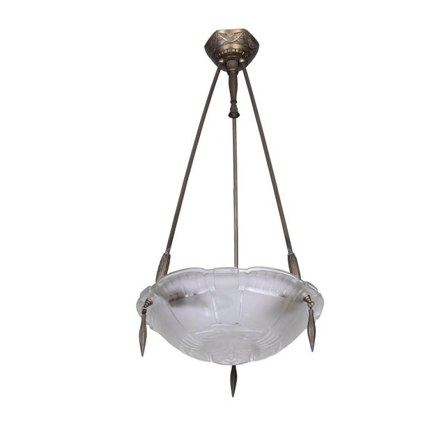 Metal Exceptional 1920's French Art Deco Chandelier by Ernest Sabino For Sale - Image 7 of 7