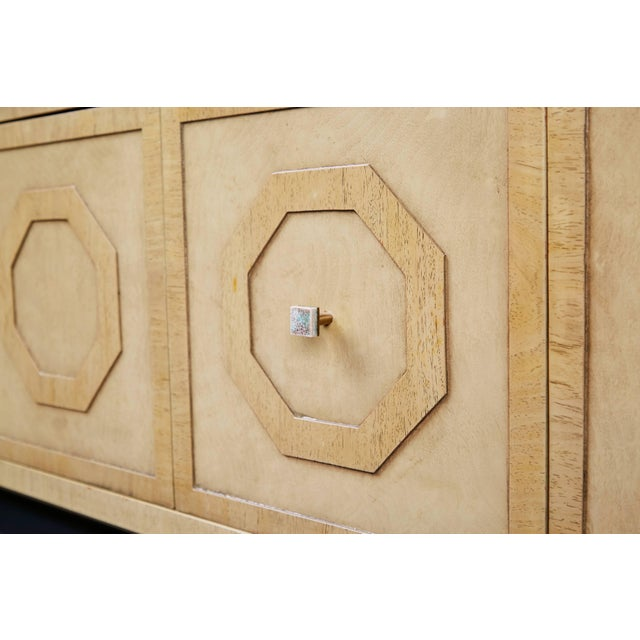 Gold 1970s Harold Schwartz for Romweber Sideboard With Decorative Tile Pulls For Sale - Image 8 of 11