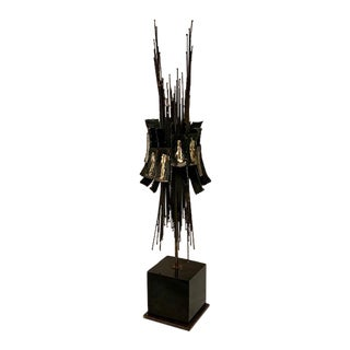 1980s Studio a Tall Brutalist Bronze Finished Sculpture For Sale