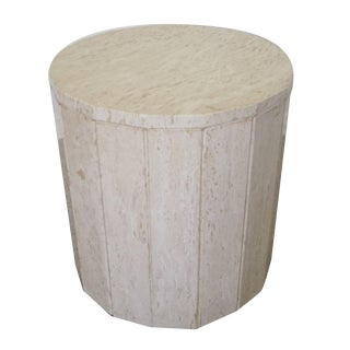 Italian Travertine Marble Round Pedestal Side Table For Sale