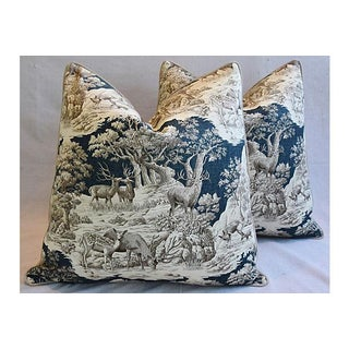 Custom Tailored Woodland Toile Deer/Elk & Velvet Feather/Down Pillows - A Pair Preview