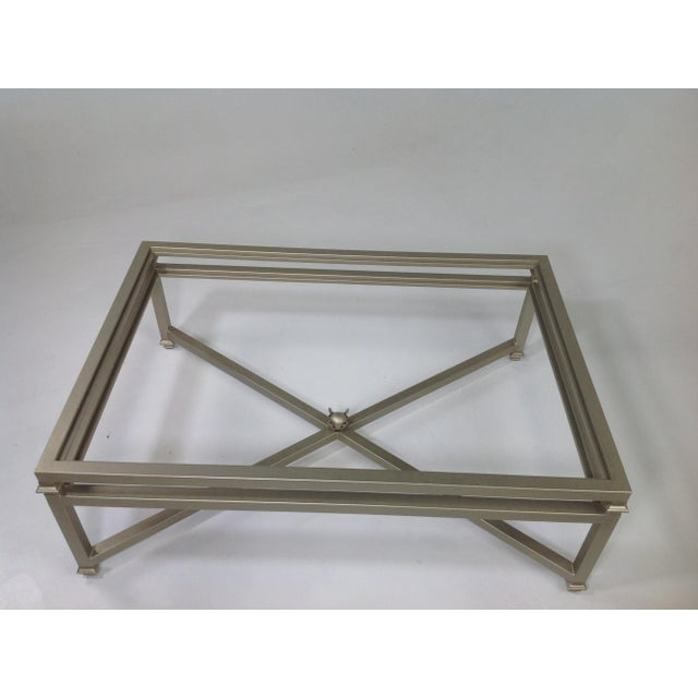 Modern Coffee Table With Glass Top For Sale - Image 4 of 4