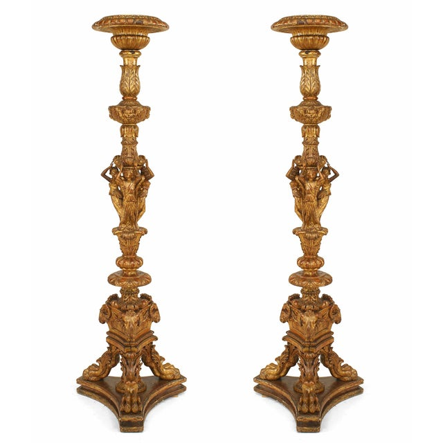 Gold 19th Century French Louis XVI Style Gilt Pedestals - a Pair For Sale - Image 8 of 8