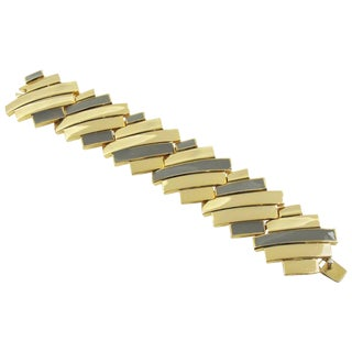 Modernist Lanvin Paris Link Bracelet Gilt Metal and Gray Enamel For Sale