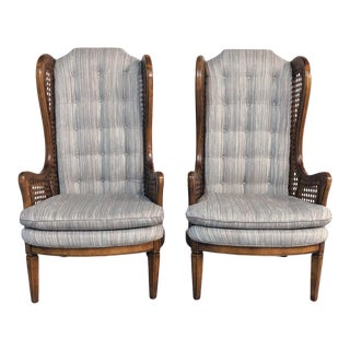 1970s Vintage Hollywood Regency Cane Wingback Chairs- A Pair For Sale