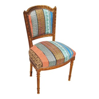 Antique Danish Chair Upholstered in a Vintage Silk Kantha Quilt from India For Sale