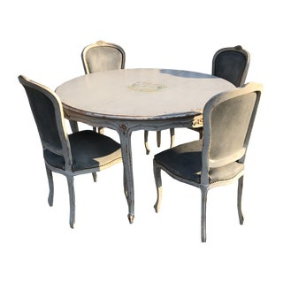 French Country Painted Dining Set - 5 Pieces For Sale