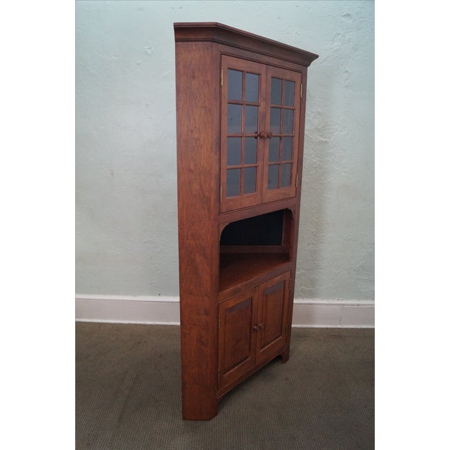 Custom Quality Solid Maple Country Corner Cabinet - Image 2 of 9