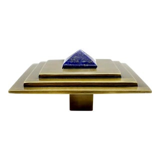 Addison Weeks Perry Square Knob, Antique Brass & Lapis For Sale